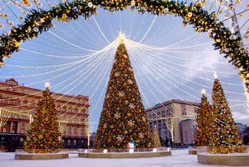 Moscow, Russia, Christmas tree on Lubyanka square. New Year and Christmas. Lubyanka square in Moscow was decorated with Christmas tree and decorative designs.