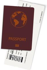 International passport and boarding pass ticket. Vector illustration of airplane ticket.