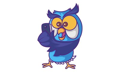 Vector cartoon illustration of cute Owl using mobile. Isolated on white background.