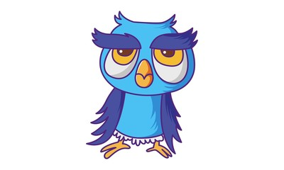 Vector cartoon illustration of cute Owl . Isolated on white background.