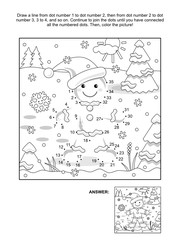 New Year or Christmas themed connect the dots picture puzzle and coloring page with gingerbread man. Answer included.