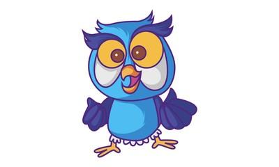 Vector cartoon illustration of cute Owl amazed. Isolated on white background.