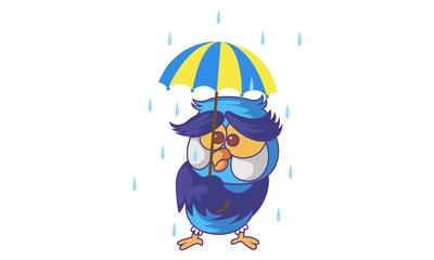 Vector cartoon illustration of cute Owl with an umbrella in rain. Isolated on white background.