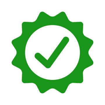 Certified or approved with checkmark /check mark flat green vector icon for apps and websites