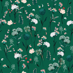 Trendy summer meadow flowers  full of  blooming in many kind of floral seasonal seamless pattern vector ,hand drawing style for fashion, fabric and all prints