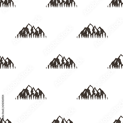 Seamless Pattern With Mountains In Retro Hipster Style Can Be Used