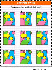 IQ training educational math puzzle with basic shapes -  parallelogram, rectangle, circles, arrow, trapezoid - overlays and colors: Can you spot the two identical pictures? Answer included.