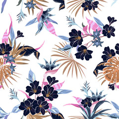 Bright Vector seamless beautiful artistic fresh  tropical flowers pattern with exotic forest original stylish floral background print,