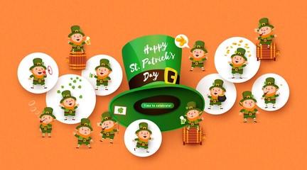 Patricks Day background, leprechauns, beer, barrel, hat, pipe, coins, pot, gold