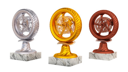 Sport Wheel Motorbike Gold Silver and Bronze Trophies with Marble Bases