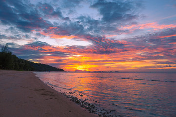 Sunset sea and mountains on Koh Samui in Thailand.