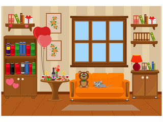 Vector illustration of the interior of the room prepared for the celebration of Valentine's day. Furniture, treats, romance.