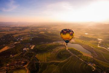 Beautiful sunset with balloon at Chiang Rai, Thailand