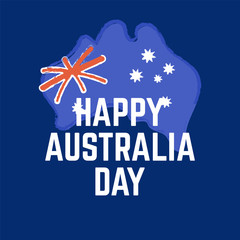 Happy Australia day lettering. Map of Australia with flag