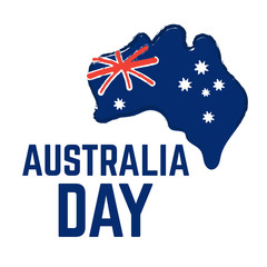 Map of Australia with flag. Australia Day, january 26 holiday sale