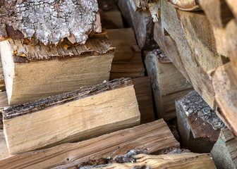 Natural wooden background. Firewood stacked and prepared for winter