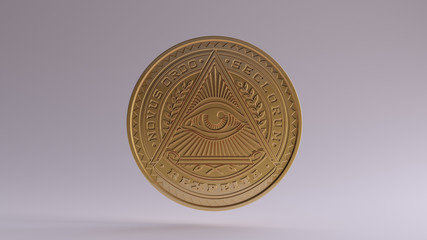 Gold Illuminati Coin 3d illustration