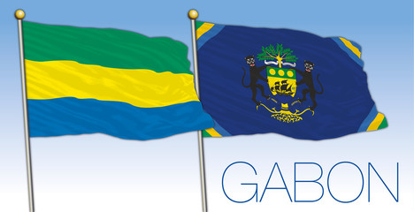 Gabon official and presidential flags, Africa, vector illustration