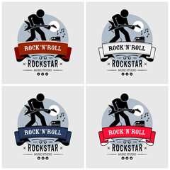 Rock and roll logo design. Vector artwork of a rock star playing a guitar in retro style. The guitarist is using an electric guitar connected to an amp.