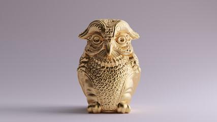 Antique Gold Owl Greek Goddess Athena's Legendary Metal Owl Bubo 3d illustration 3d render