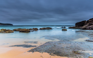 Overcast and Wet Morning Sunrise Seascape