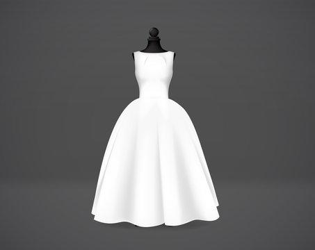 Women's wedding dress isolated on mannequin.