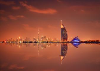 Keuken foto achterwand Dubai Beautiful skyline of Dubai city at night in United Arab Emirates