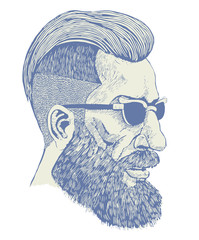 hipster. engraving style. vector illustration