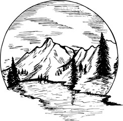 Painting with mountains, firs and beautiful sky inscribed in a circle.