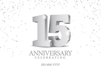 Anniversary 15. silver 3d numbers.