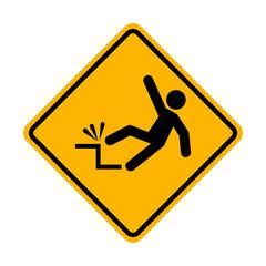 Falling hazard warning sign