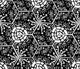 Underwater world. Hexagonal tiles. Seamless pattern. White and black colors.
