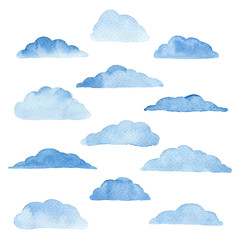 Blue watercolor clouds.
