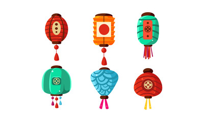 Colorful Chinese festival lanterns set, decorative design elements vector Illustration