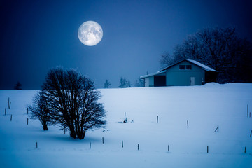 Full Moon Winter Scenery