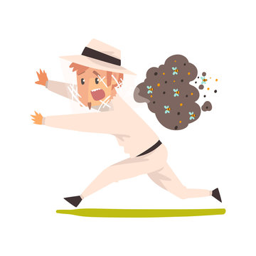 Scared beekeeper running away from swarm of bees, apiculture and beekeeping concept vector Illustration