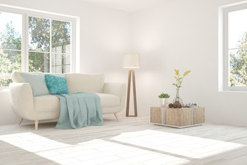White room with sofa and green background in window. Scandinavian interior design. 3D illustration