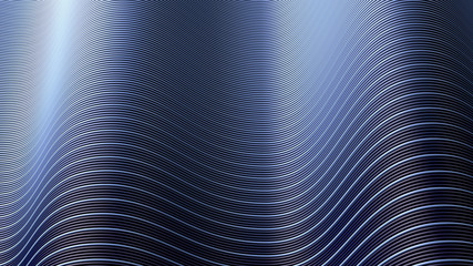 3d illustration of a wavy surface made of different colored lines.