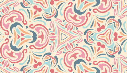 Abstract ethnic pattern in pastel shades. Fragment of design for card, invitation, cover, wallpaper, tile, packaging, background. Tribal ethnic ornament in arabic style.
