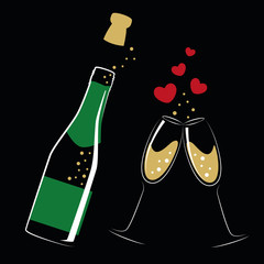 opened bottle of champagne and glasses with hearts for wedding and valentines day vector illustration EPS10
