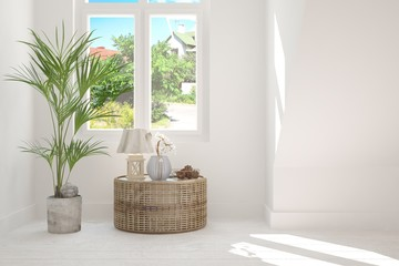 White empty room with summer background in window. Scandinavian interior design. 3D illustration