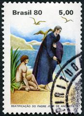 BRAZIL - 1980: shows Father Anchieta Jose Diaz de Clavijo (1534-1597), Writing Virgin Mary, Mother of God on Sand of Iperoig