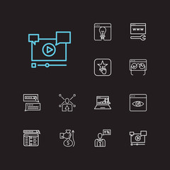 Engine icons set. SEO monitoring and engine icons with search result, video marketing and monitor performance. Set of media for web app logo UI design.