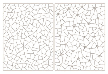Set of contour illustrations of stained glass with abstract background images, dark contours on white background