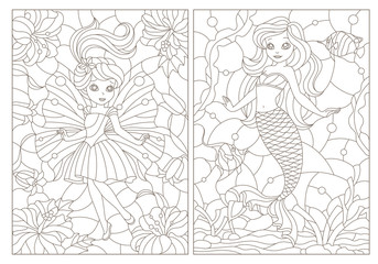 Set of contour illustrations of stained glass Windows with fairy-tale characters, mermaid and fairy, dark contours on a white background