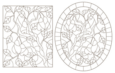 Set of contour illustrations of stained glass Windows with pear leaves and fruit branches, round and rectangular image