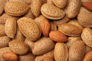 almonds background. almonds texture. top view. macro