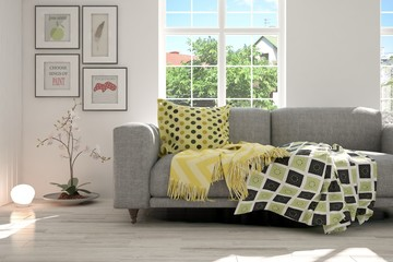 Idea of white room with sofa and summer background in window. Scandinavian interior design. 3D illustration