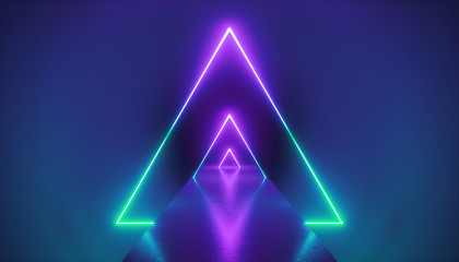 3d render, neon light triangle, virtual reality, triangular esoteric portal, tunnel, corridor, ultraviolet abstract background, laser show stage, fashion catwalk podium, road, way, floor reflection Wall mural
