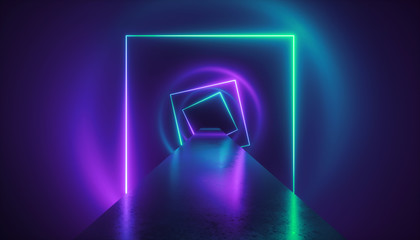 3d render, virtual reality environment, neon light, square portal, tunnel, ultraviolet spectrum, abstract background, laser show, fashion catwalk podium, path, way, stage, floor reflection